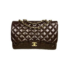 Chanel Brown Lambskin Leather Quilted Single Flap Jumbo Classic Bag