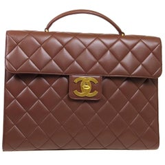 Chanel Brown Leather Carryall Business Top Handle Travel Brief Briefcase Bag