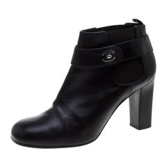Chanel Brown Leather CC Ankle Boots Size 41