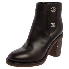 Chanel Brown Leather CC Turnlock Ankle Boots Size 41
