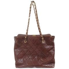 Chanel brown leather gold hardware shoulder bag