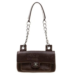 Chanel Brown Leather Graffiti Classic Shoulder Bag