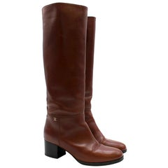 Chanel Brown Leather Low Heel Tall Boots SIZE 38.5