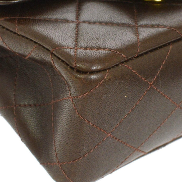 Women's Chanel Brown Leather Mini Small Party Evening Top Handle Satchel Flap Bag