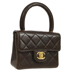 Chanel Brown Leather Mini Small Party Evening Top Handle Satchel Flap Bag