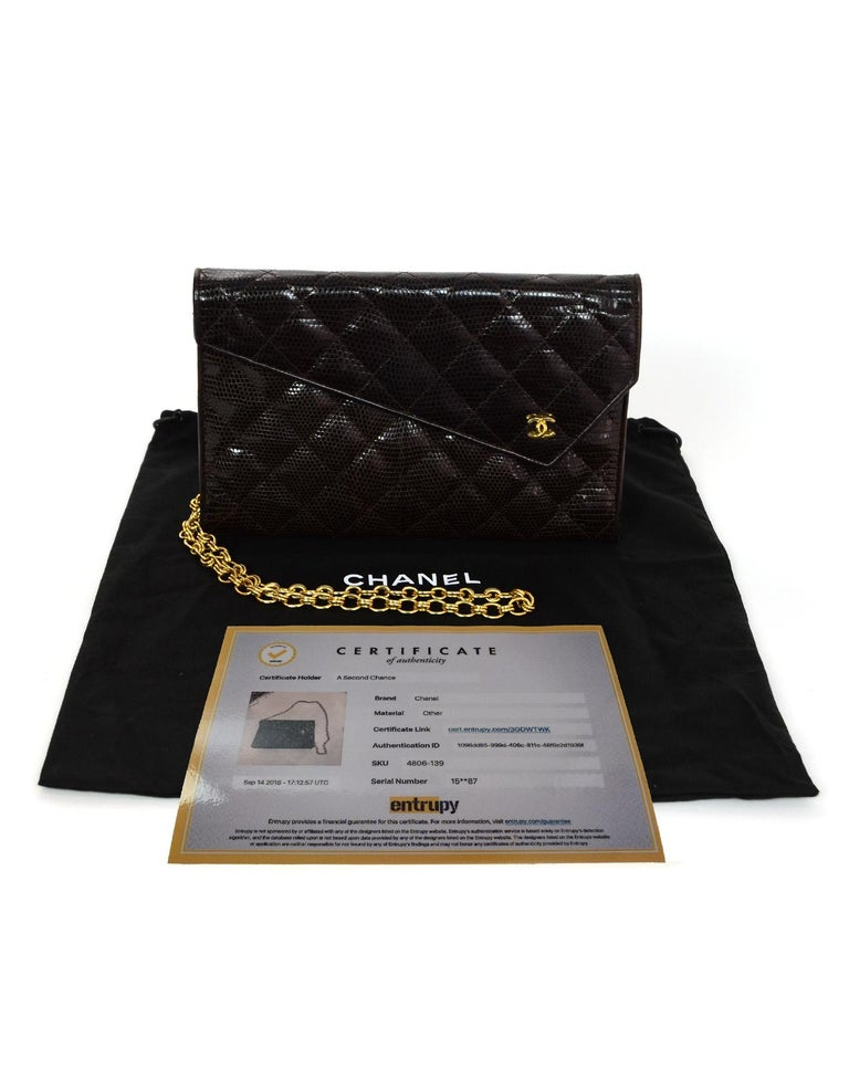 5a93b0ef21b626 Chanel Brown Lizard Quilted Clutch/ Shoulder Bag For Sale at 1stdibs