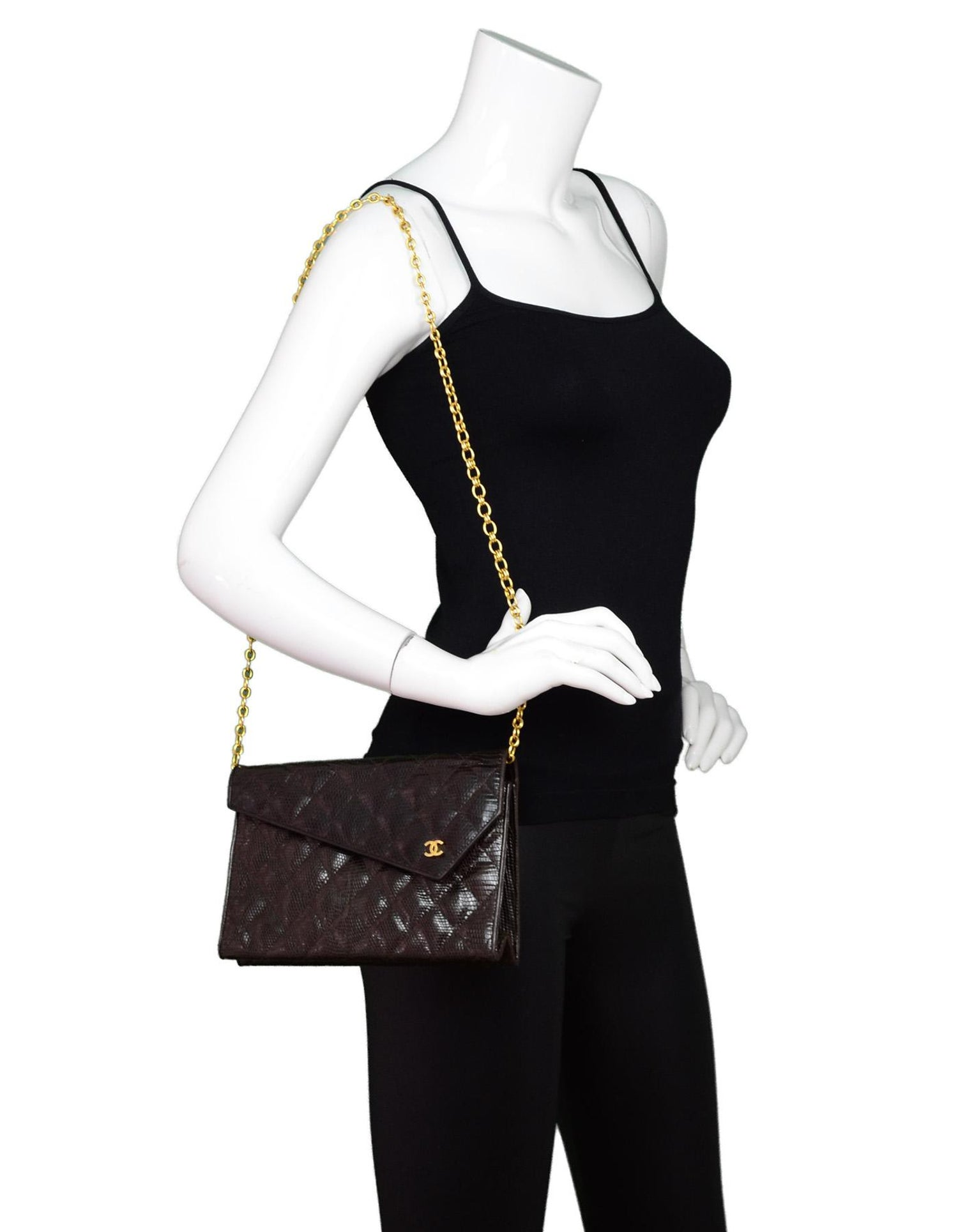 0495ba419634a5 Chanel Brown Lizard Quilted Clutch/ Shoulder Bag For Sale at 1stdibs