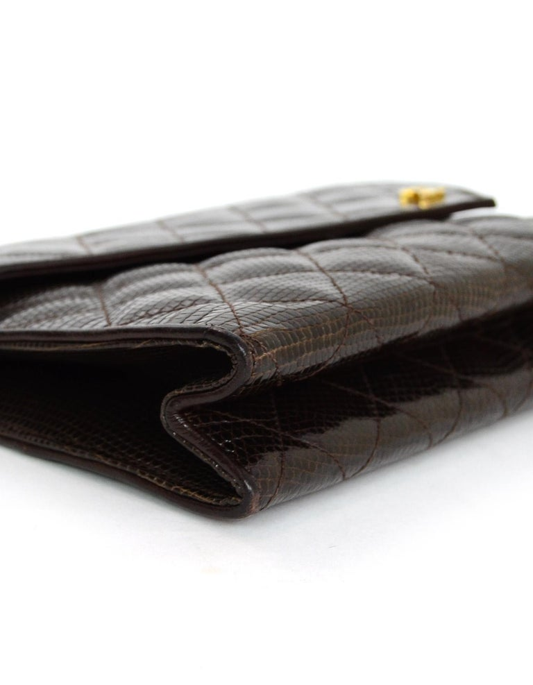 69cd4d69a804d2 Chanel Brown Lizard Quilted Clutch/ Shoulder Bag In Excellent Condition For  Sale In New York