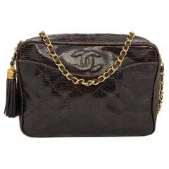 Chanel Brown Lizard Vintage Camera Tassel Bag with Gold Hardware