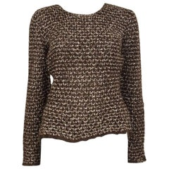 CHANEL brown mohair Boucle Crewneck Sweater 40 M