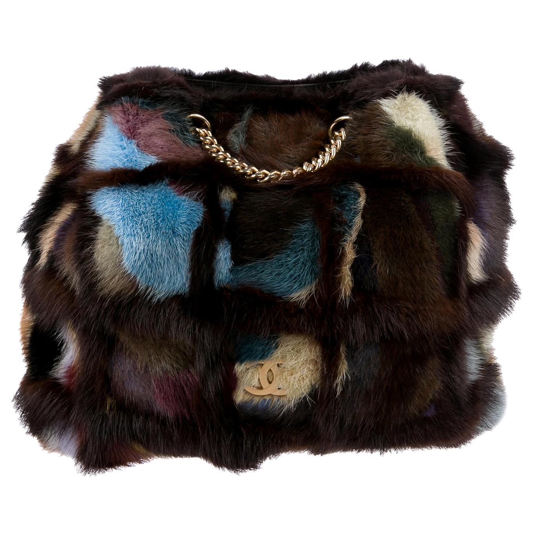 Chanel Brown Multicolor Patchwork Mink Fur Shoulder Bag