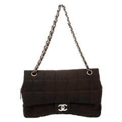 Chanel Brown Nylon Chocolate Bar East West Flap Bag