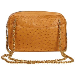 Chanel Brown Ostrich Leather Shoulder Bag