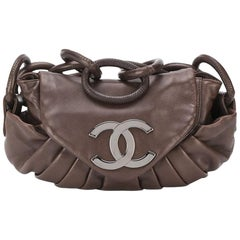 Chanel Brown Pleated Leather Tote Bag