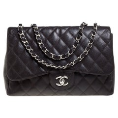 Chanel Brown Quilted Caviar Leather Jumbo Classic Single Flap Bag