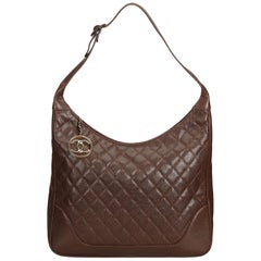 Chanel Brown Quilted Caviar Leather Shoulder Bag