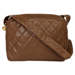 Chanel Brown Quilted Caviar Leather Vintage Timeless Camera Bag