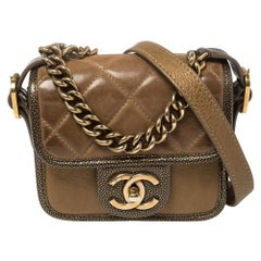 Chanel Brown Quilted Leather and Caviar Leather Paris Bombay  Mini Bag