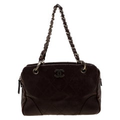 Chanel Brown Quilted Leather Chain Shoulder Bag