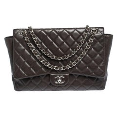 Chanel Brown Quilted Leather Maxi Classic Single Flap Bag