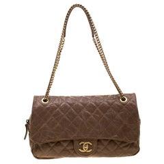 Chanel Brown Quilted Leather Shoulder Bag