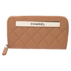 Chanel Brown Quilted Leather Trendy Zip Around Wallet