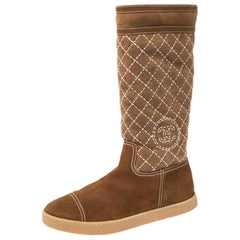 Chanel Brown Quilted Suede Mid Calf Boots Size 40.5