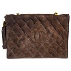 Chanel Brown Suede 1990's Side Fringe Tassel Flap Bag