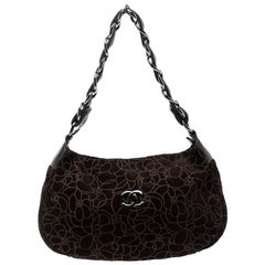 Chanel Brown Suede Camellia Embossed Hobo