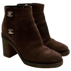 Chanel Brown Suede CC Twist Lock Heeled Ankle Boots - Size EU 40