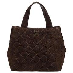 Chanel Brown Suede Matelasse Handbag
