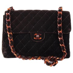 Chanel Brown Suede Quilted Tortoiseshell Hardware Flap Bag