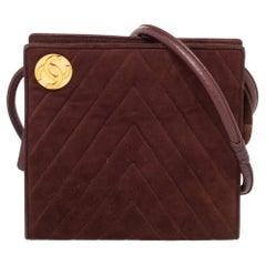 Chanel Brown Suede Vintage Shoulder Bag