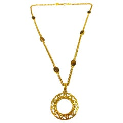 Chanel Brown Tiger's Eye Gold Charm Logo  Evening Drop Drop Chain Necklace