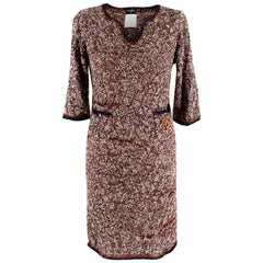 Chanel Brown Tweed Boucle Knit Lightweight Dress - Size US 0-2