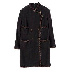 Chanel Brown Tweed Wool Military Dress US 14