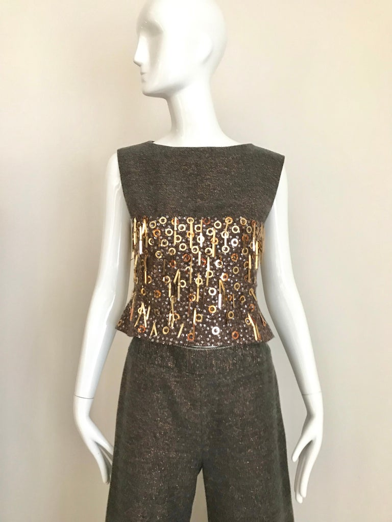 CHANEL Brown Wool Sleeveless Top and Pant Set For Sale 2