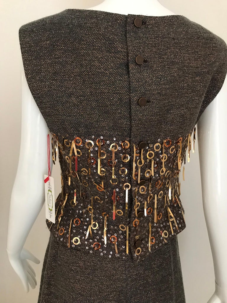 CHANEL Brown Wool Sleeveless Top and Pant Set For Sale 4