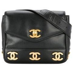 Chanel Bum Vintage 90s Rare Triple Cc Logos Waist Belt Fanny Pack Black Lambskin