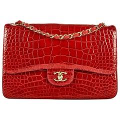 Chanel Burgundy Alligator Jumbo Double Flap Bag No. 22151348