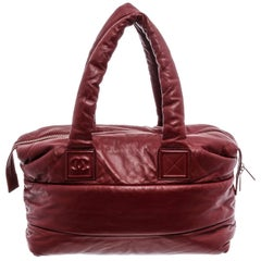 Chanel Burgundy Black Quilted leather Coco Cocoon Reversible Tote Bag