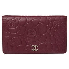 Chanel Burgundy Camellia Embossed Leather Bifold Wallet