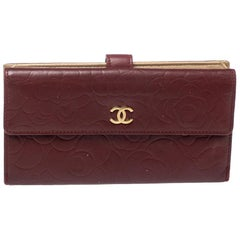 Chanel Burgundy Camellia Embossed Leather Flap Wallet