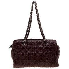 Chanel Burgundy Camellia Stitch Patent Leather Shoulder Bag