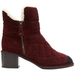 CHANEL burgundy CC red diamond quilted suede toe cap shearling ankle boot EU37