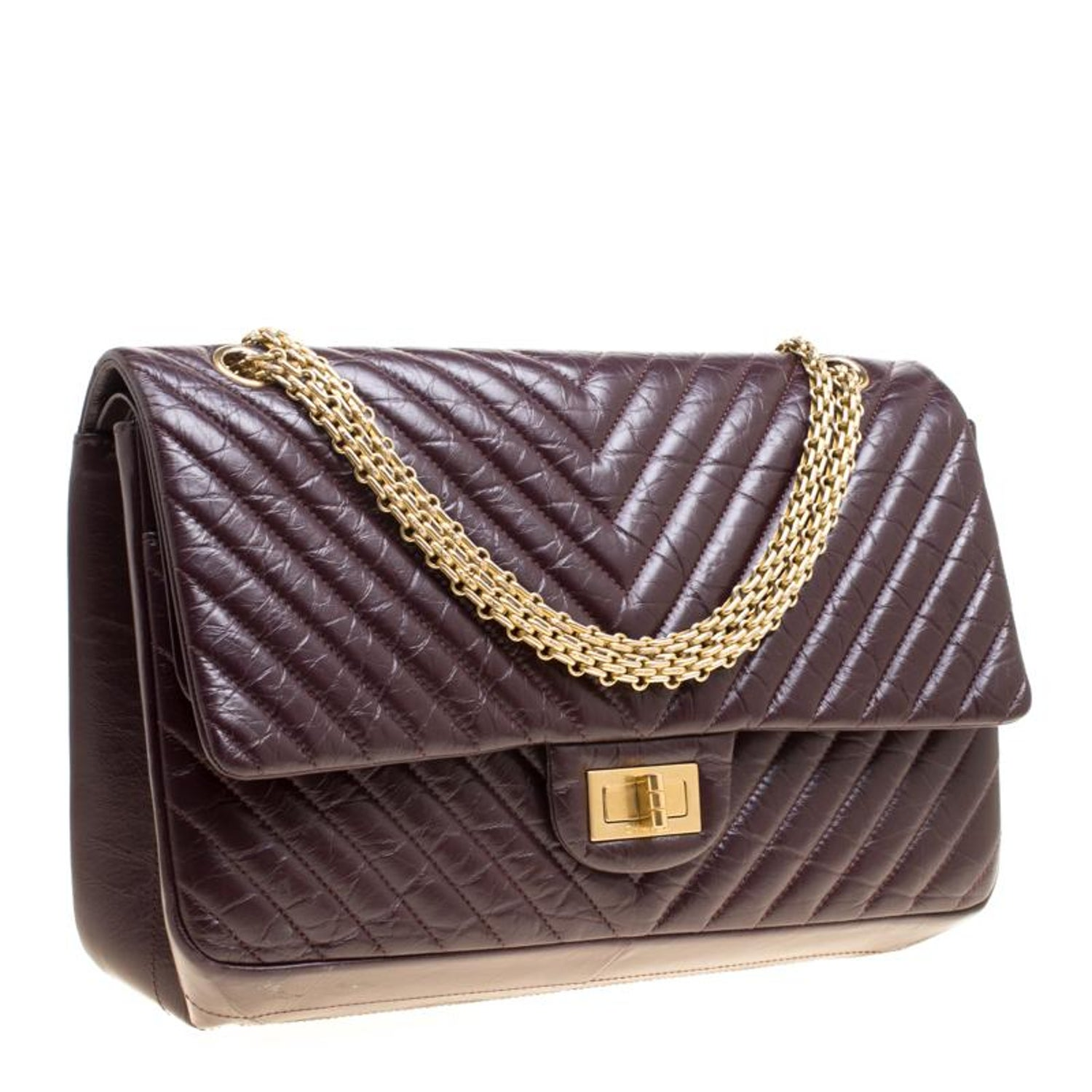 f331329d5a9ddb Chanel Burgundy Chevron Quilted Leather Reissue 2 55 Clic 227