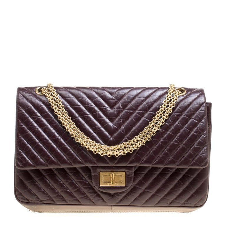 3a45a42c2465 Chanel Burgundy Chevron Quilted Leather Reissue 2.55 Classic 227 Flap Bag  For Sale