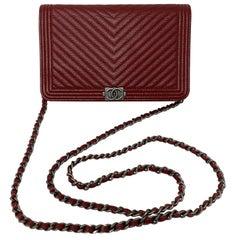 Chanel Burgundy Chevron Wallet On A Chain Bag
