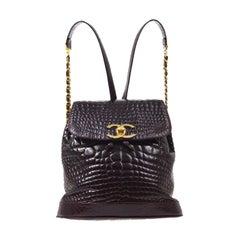 Chanel Burgundy Crocodile Exotic Leather Gold Evening Shoulder Flap Backpack Bag