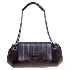 Chanel Burgundy Leather Accordion Vintage Vertical Quilted Flap Bag